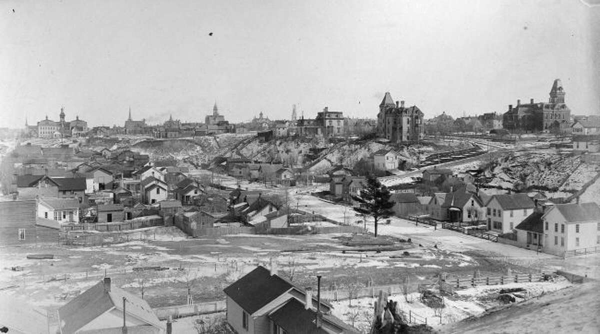 This 1880 view is from First Street in Manistee looking toward the east.
