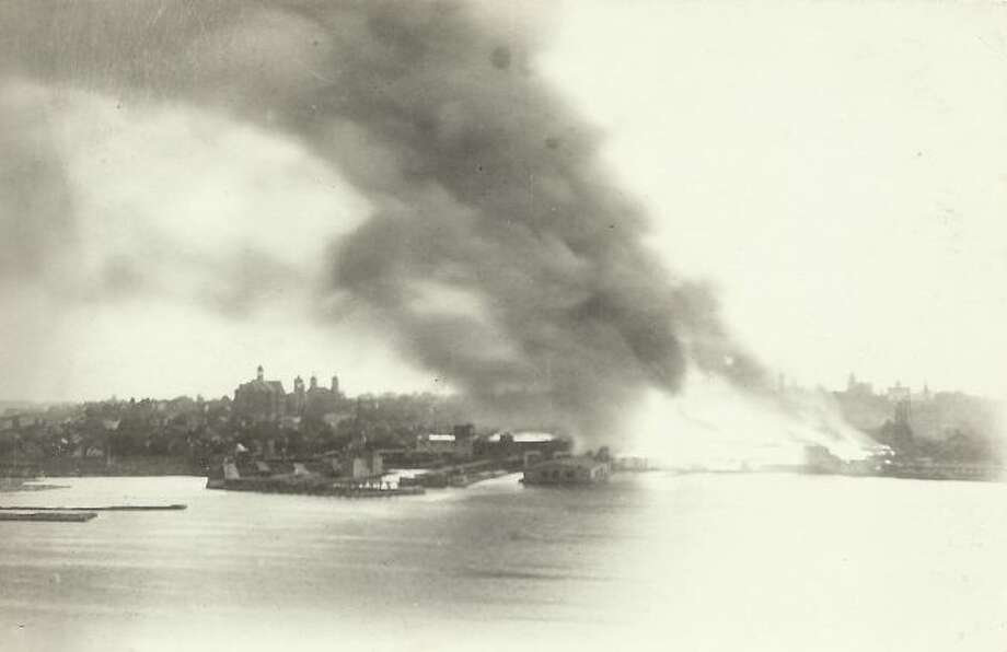 This 1920 picture shows the fire that destroyed the Buckley and Douglas lumber and salt plant.