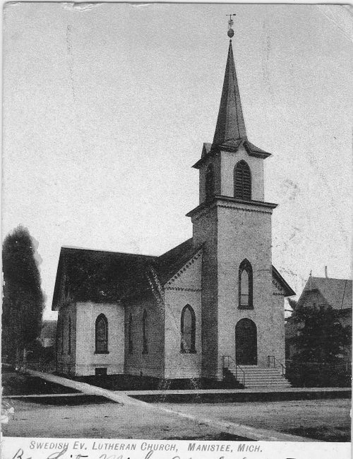 The Swedish Evangelical Lutheran Church in Manistee is shown in this early 1900 photograph.