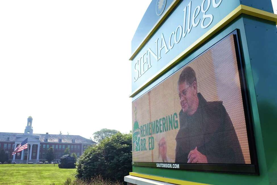 A message board on the Siena College campus shows an image of its president, Brother F. Edward Coughlin, on Tuesday, July 30, 2019, in Loudonville, N.Y. Coughlin died early Tuesday morning following complications from non-emergency heart surgery. (Paul Buckowski/Times Union)