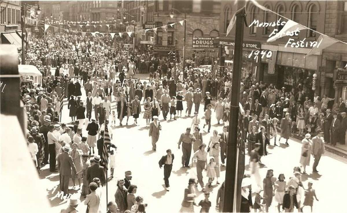 The 1940 Forest Festival parade in Manistee drew in thousands of people for the event.