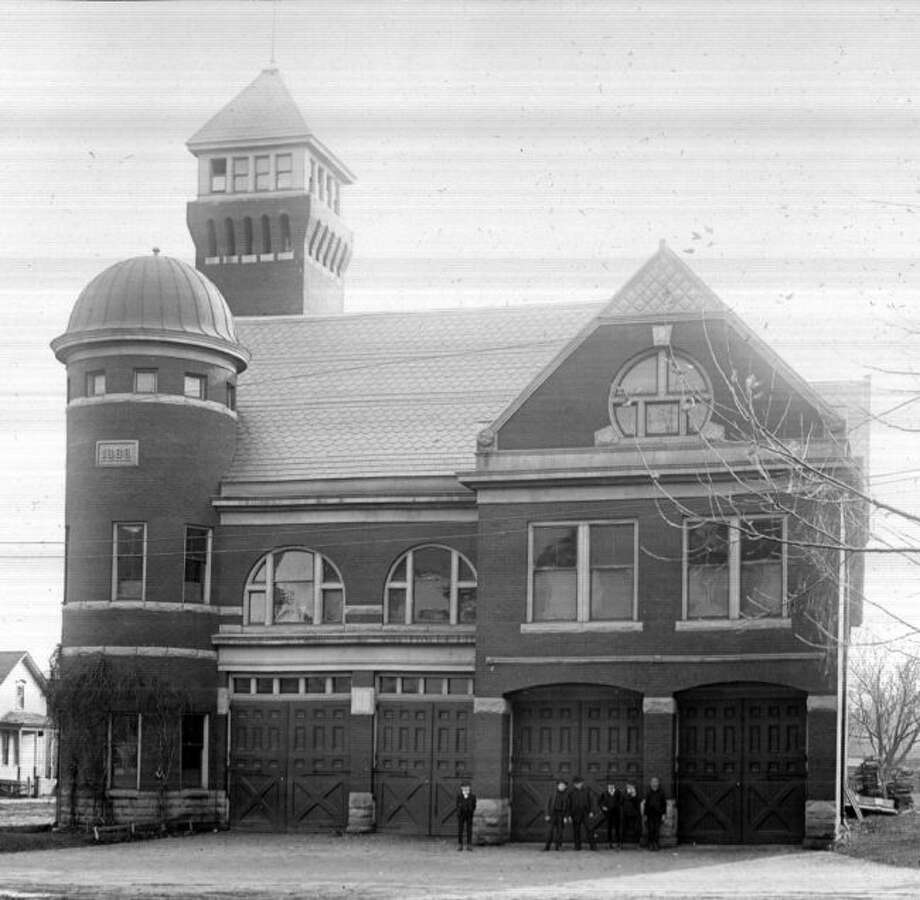 The City of Manistee Fire Department that was constructed in 1888 is shown in this photograph from 1890s when horses were still used to pull the engines.