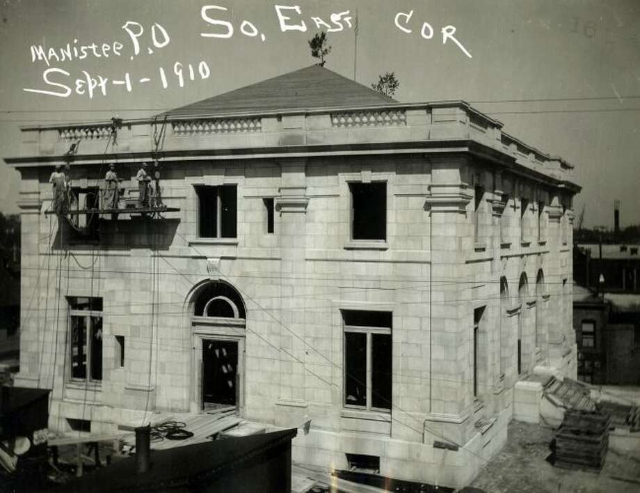 Construction commenced on Manistee's new post office/federal building in June 1909. The above photo shows the progress on the building in September 1910.