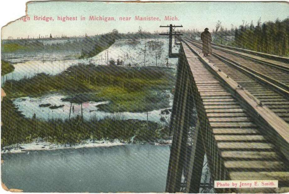 This view from the top of High Bridge by Jenny Smith shows how high the bridge was about the Big Manistee River.