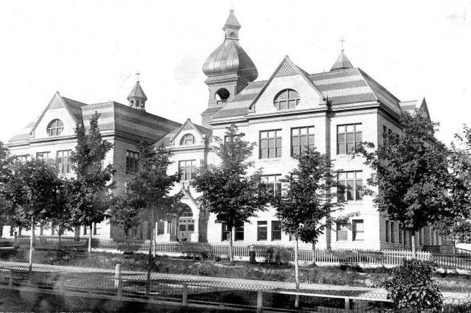 The old Central High School that was located in Manistee is shown in this 1900 photograph.