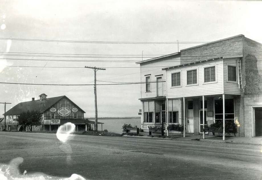 A view of two of the buildings in downtown Bear Lake circa late 1930s.