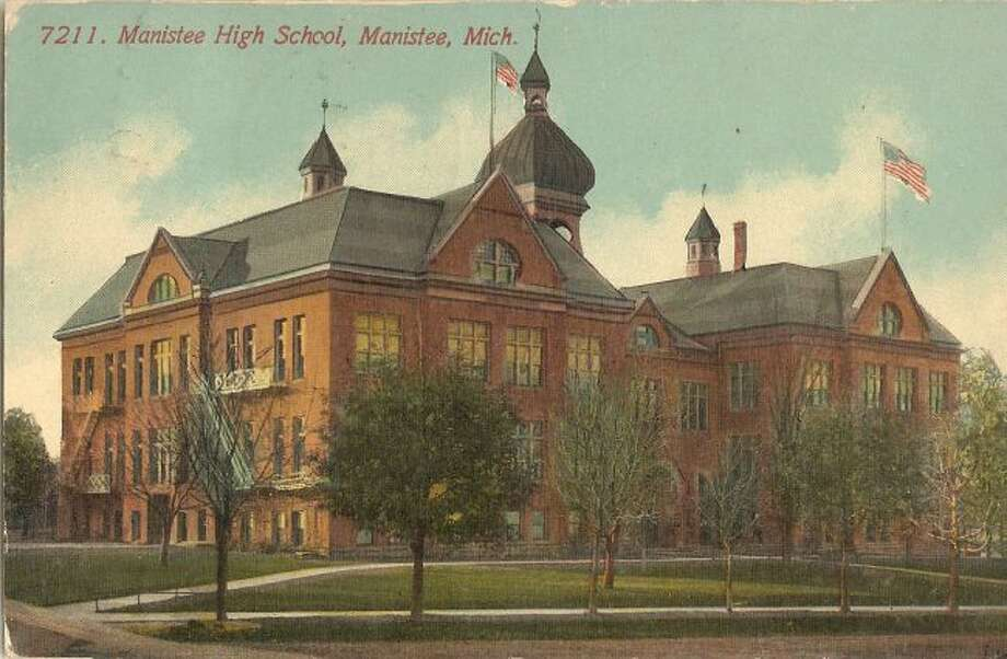 The old Manistee High School is shown in this photograph from the early 1900s.