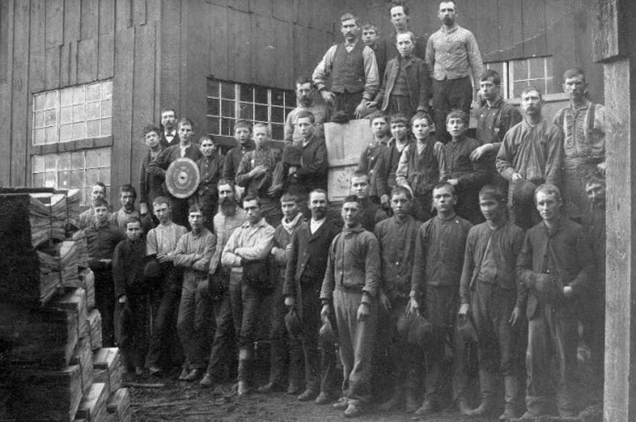 A shingle mill crew working the Filer Mill poses for a picture circa 1900.