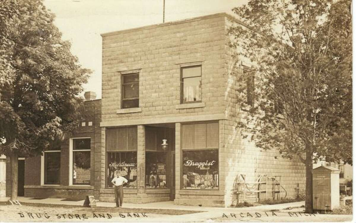 The Arcadia Drug Store is shown in this photograph from the early 1920s.