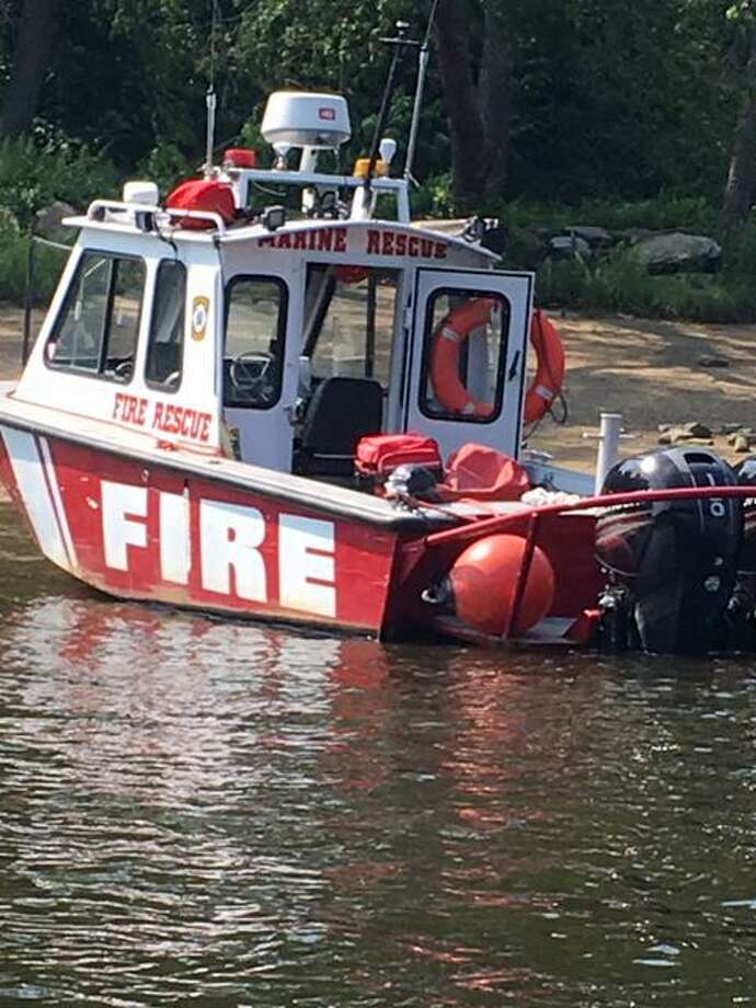 Shelton FD Marine 1 at a recent incident. This unit is berthed in the Lower Housatonic River at Beacon Point Marina. Photo: Contributed Photo / Connecticut Post