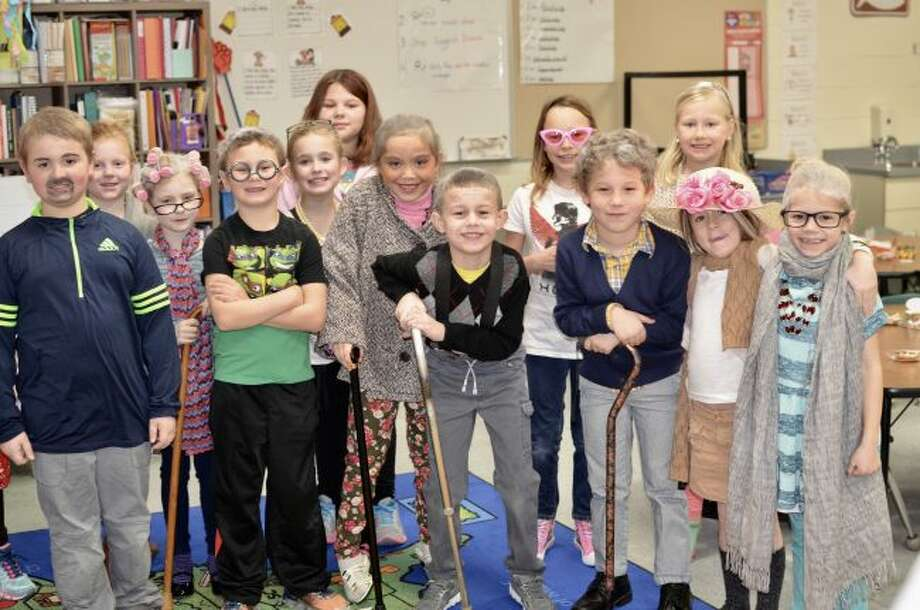 The first grade students at Bear Lake Schools took on a much elderly appearance to mark being in school for 100 days. All of the students dressed up like they were 100 years old.