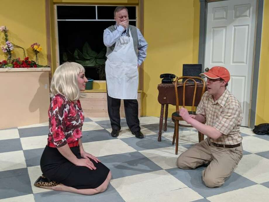 The meek floral assistant Seymour Krelborn is played by Sean Gilbert (right), Mr. Mushnik, the ill-tempered owner of Skid Flower Shop, is Paul Garland (center), and Kali Findley (left) is taking on the role of the iconic Audrey.