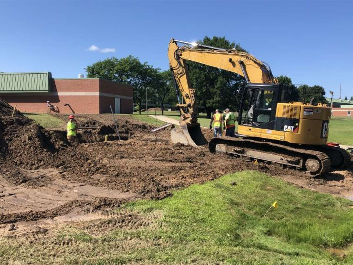 Hallack Construction began the process at West Shore Community College this week to connect to the City of Ludington water supply. The college is also constructing a 50,000 gallon water tank as part of the process.