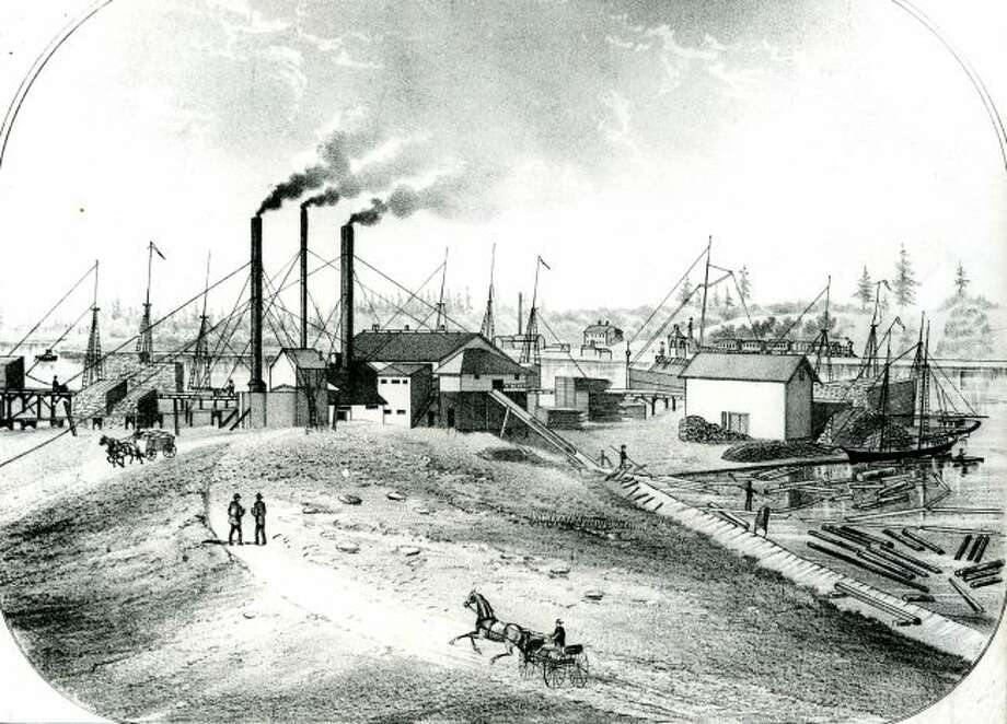 This artist's drawing shows what the Filer sawmill looked like on the shores of Lake Michigan in the 1880s.