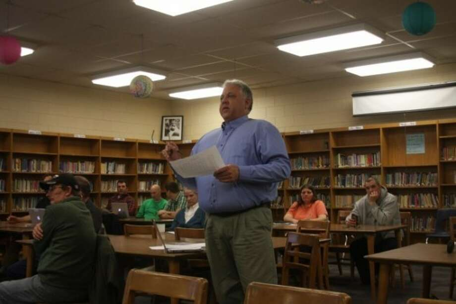 Manistee Area Public Schools Business Manager Howard Vaas addresses the board of education on the budget.
