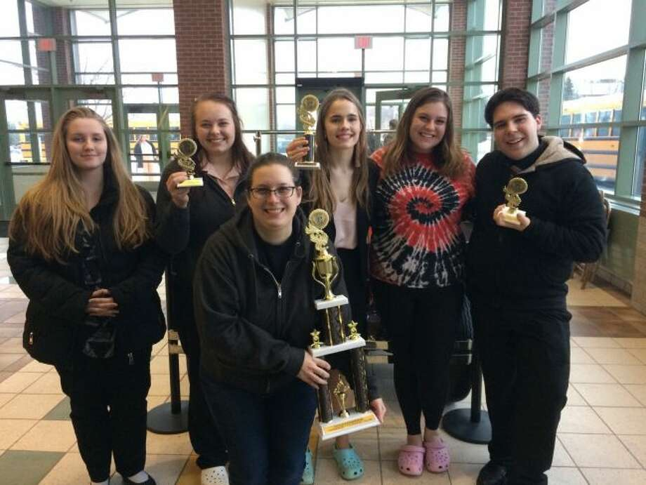 The Manistee High School Forensics team took first place in their division at the Grand Rapids Christian Eagle Invitational. In the front is coach Bree Miller. Back row (left to right) are Lauren Hanna, Macie Goodspeed, Haley Johnson, 2018 graduate Sarah Sheathelm, and Kyle Carter.