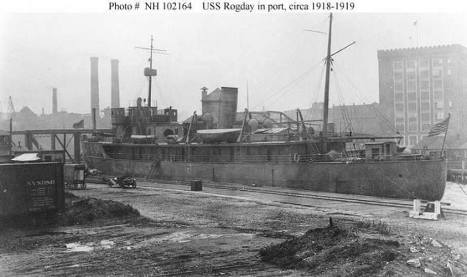 This photograph shows the ROGDAY at the dock probably in Boston.