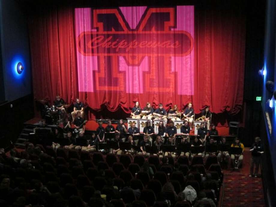 The Manistee High School Jazz Band is shown performing last year at the Vogue. The group will be playing on Sunday at 6 p.m. at the Vogue Theater to raise funds for the scholarship program to send students to summer band camp.