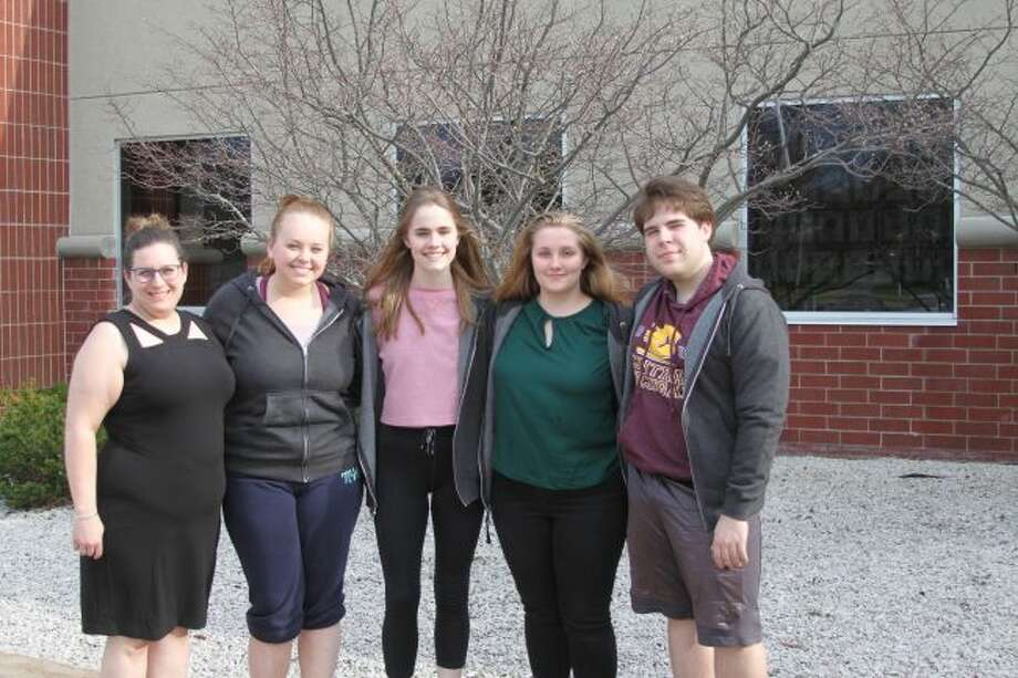 The Manistee High School Forensics team will be competing at the state finals on May 3 and 4 at Oakland University. Shown (left to right) are coach Breanna Miller,Macie Goodspeed, Haley Johnson, Lauren Hanna, Kyle Carter. Not pictured is Kyla White.