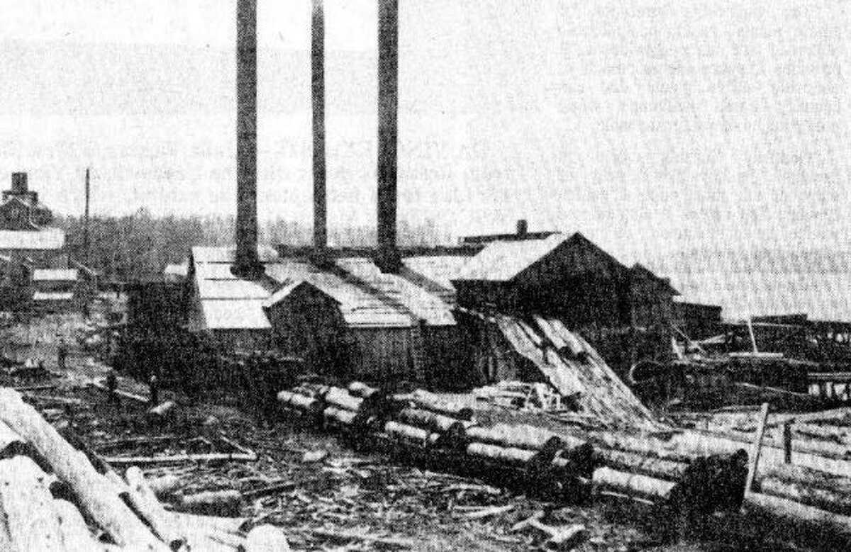 The Hopkins Sawmill that was located in Bear Lake is shown in this historical photograph from the early 1900s.