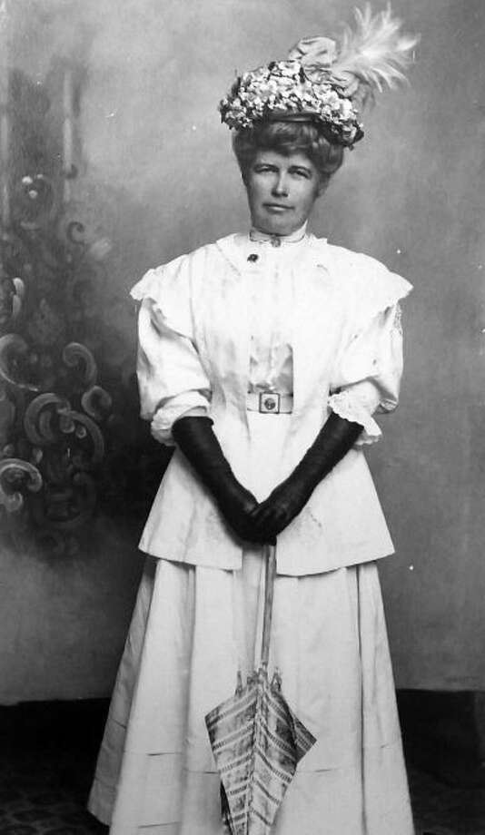 """Pictured in the photograph is local socialite, Harriet Sebring in 1908. The portrait is cataloged as photo #378 in the """"Costume Portraits Collection - Album #9"""" at the museum."""