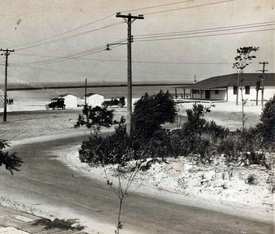The First Street Beach area in Manistee is shown in this photograph from the mid 1920s.