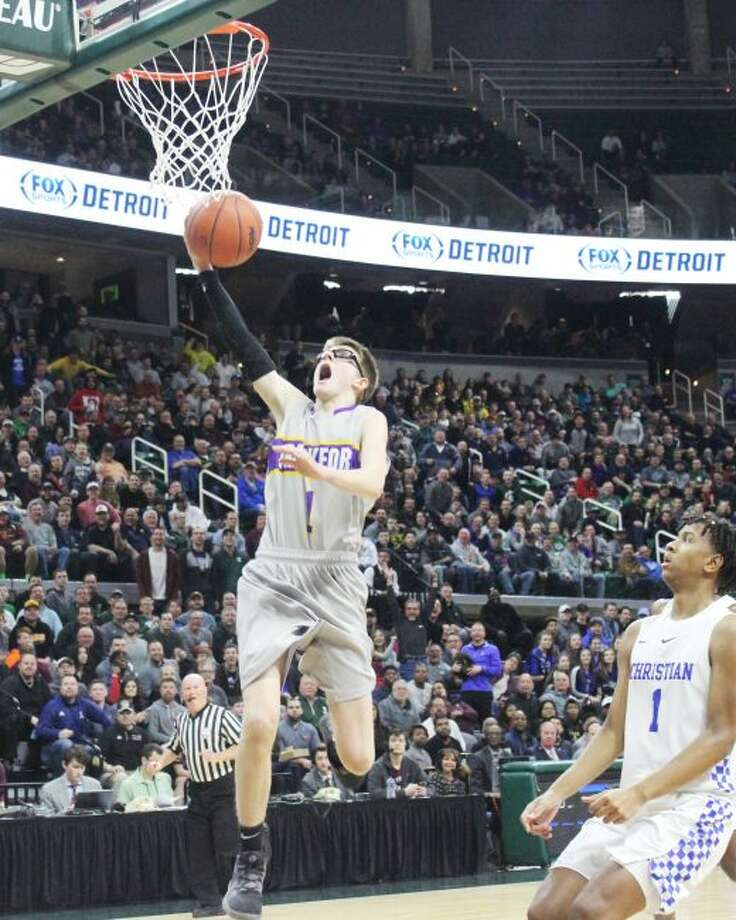 Blake Miller energizes the Breslin Center with big plays off the bench in the final minutes of the state championship game.(Robert Myers/Pioneer News Network)