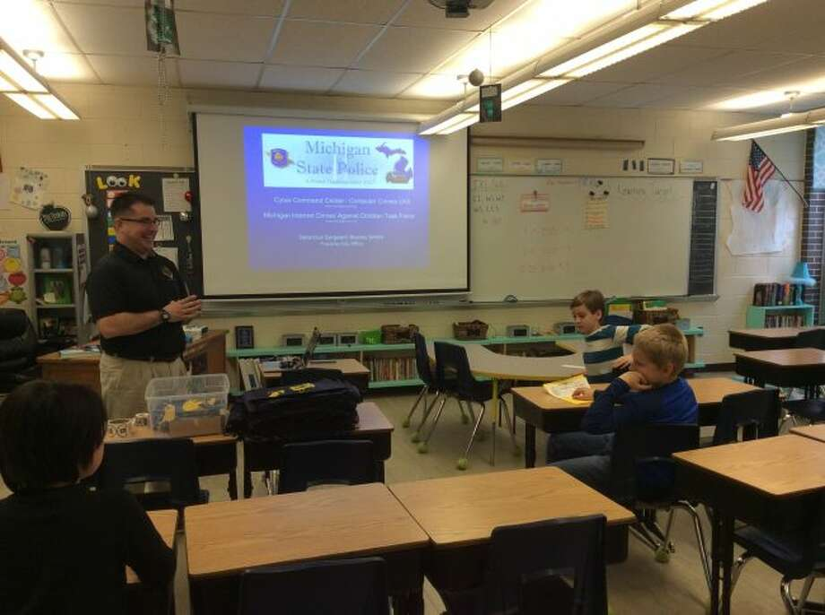 One of the many Career Day presenters at Kennedy Elmentary School was the Michigan State Police.