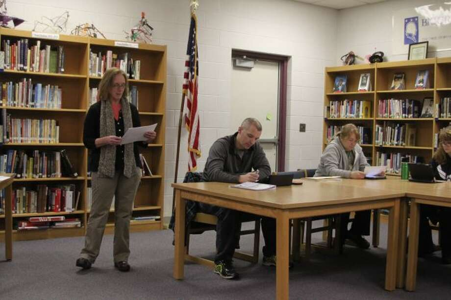 Manistee Intermediate School District general education consultant Dency Lippert speaks about the new teacher training to the Kaleva Norman Dickson Board of Education.