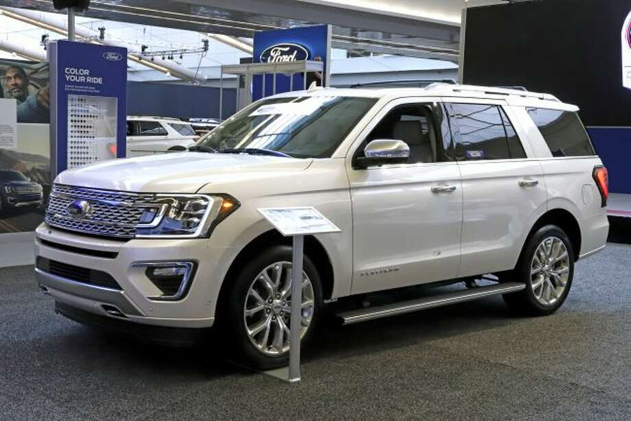 A 2019 Ford Expedition 4x4 is on display on Feb. 14 at the 2019 Pittsburgh International Auto Show in Pittsburgh. Ford Motor Co. said Tuesday it will shift 550 jobs to its Kentucky Truck Plant to boost production of its Expedition and Lincoln Navigator to meet growing demand for its large SUVs. (AP Photo/Gene J. Puskar, File)