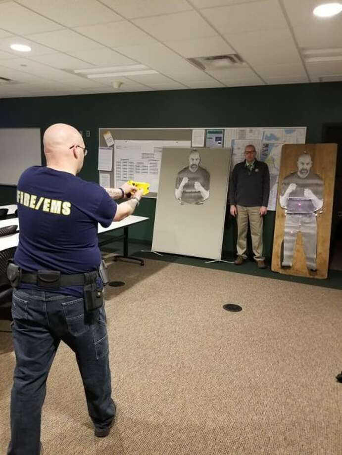An officer takes part in taser training, which acts as a refresher course required each year. (Courtesy Photo/Manistee County Sheriff's Office)