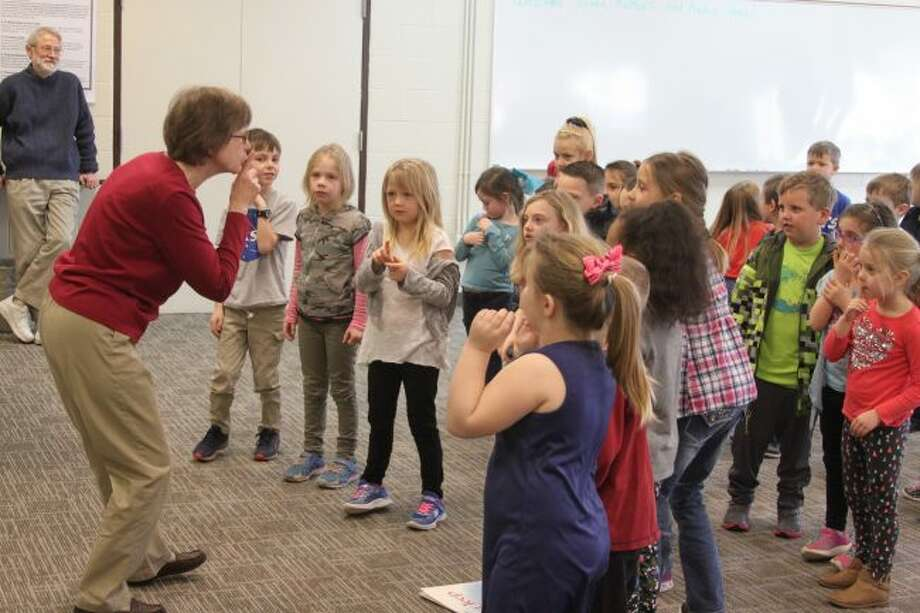 One of the many fun things the area students had the chance to do during the Young Author's program was to sing along with Michigan author Nancy Shaw on some of the rhymes she has created for her children's books.