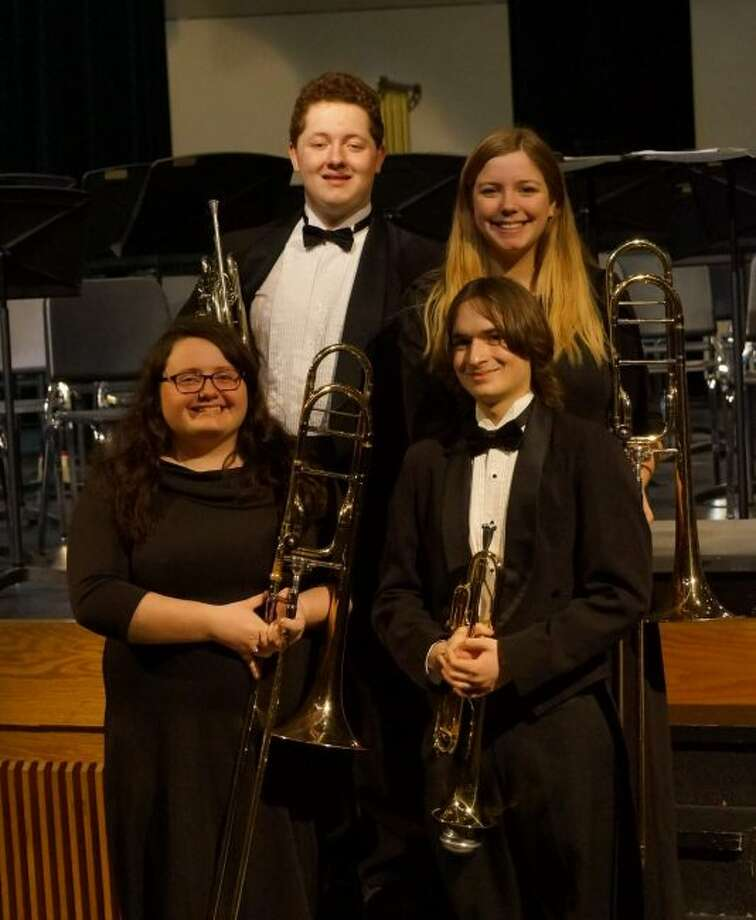 Several area students received the honor of being named to the Michigan State Band and Orchestra Association District I All Star Band.Students receiving that honor from included Manistee High included in the front row (left to right) Aleah Miller (trombone) and Maxwell Lloyd (trumpet). Back row (left to right) Liam Quinn (horn) and Kiera Raymond (trombone) Brethren students receiving the honor, but not pictured were William Hilliard (alto sax), Frederica Pedrotti (flute) and Logan Tighe (trumpet). (Courtesy photo)