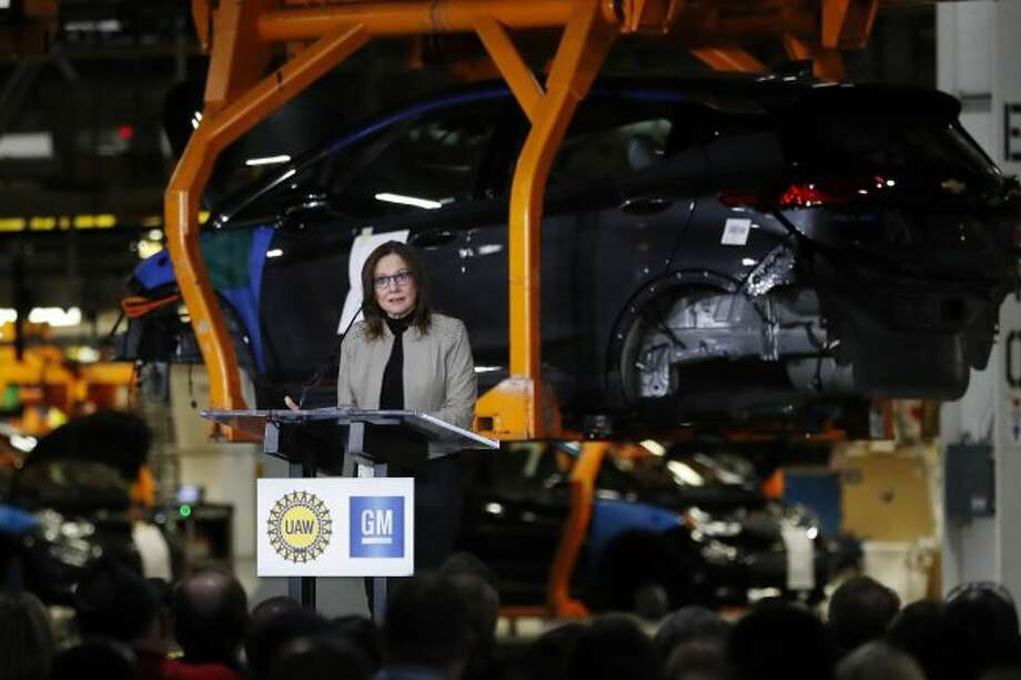 General Motors Chairman and CEO Mary Barra announces the company's investment of $300 million in its Orion Township, Mich., assembly plant to produce a new Chevrolet electric vehicle, Friday, March 22, 2019, in Orion Township, Mich. (AP Photo/Carlos Osorio)