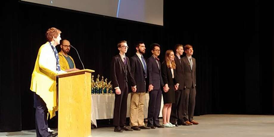 Manistee High School's Hayley Johnson is shown third from the left at the recent Best of the West Forensics Tournament at Portage Central High School. She is currently ranked second in the state in Extemporaneous Speaking which could automatically qualify her for the state finals.