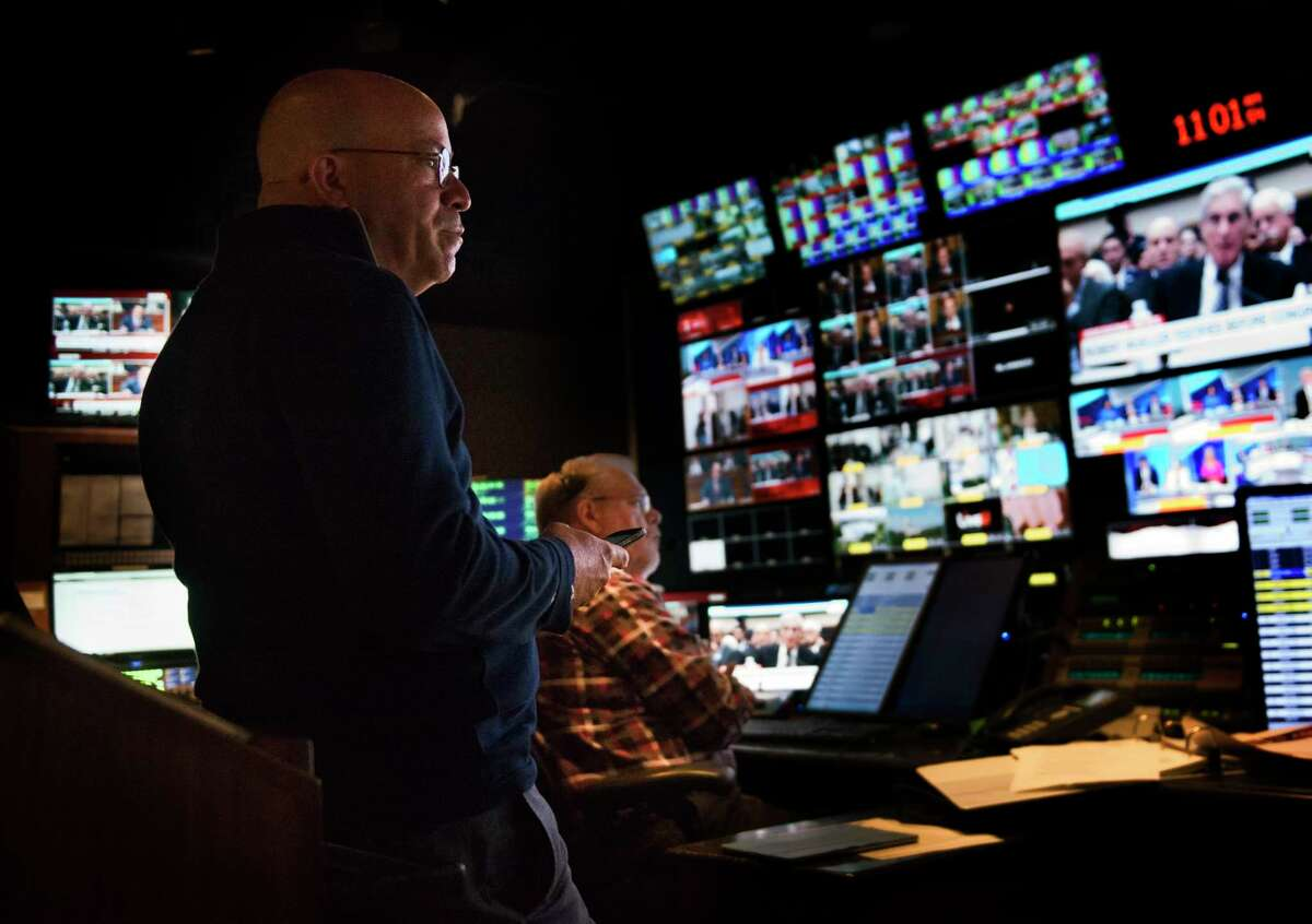 CNN President Jeff Zucker is shown in the network control room during the Mueller hearings, on July, 22, 2019 in Washington.