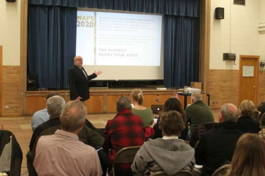 Manistee Area Public Schools superintendent Ron Stoneman speaks at Thursday's MAPS 2020 forum that was set up to make the public aware of the district's need in the next 20 years. Another forum is scheduled for 7 p.m. on April 25 at Jefferson Elementary School.