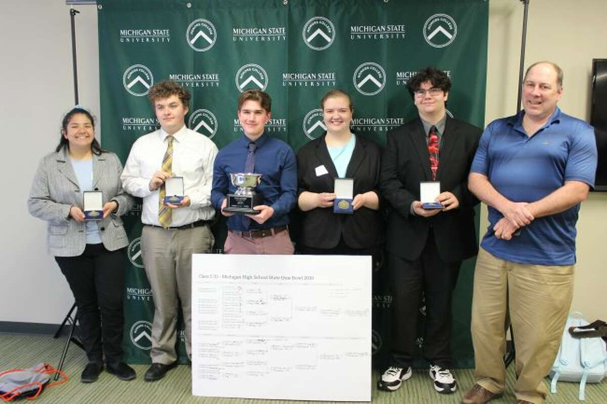 Manistee Catholic Central won the Class C/D Quiz Bowl State Championship at Michigan State University last Saturday. Shown (left to right) are Elena Pizana, Max Papenfuss, Sean Dougherty, Claire Wittlieff, Sam Madsen and Coach Jason Allen. Missing from the photo is Blake Johnson.