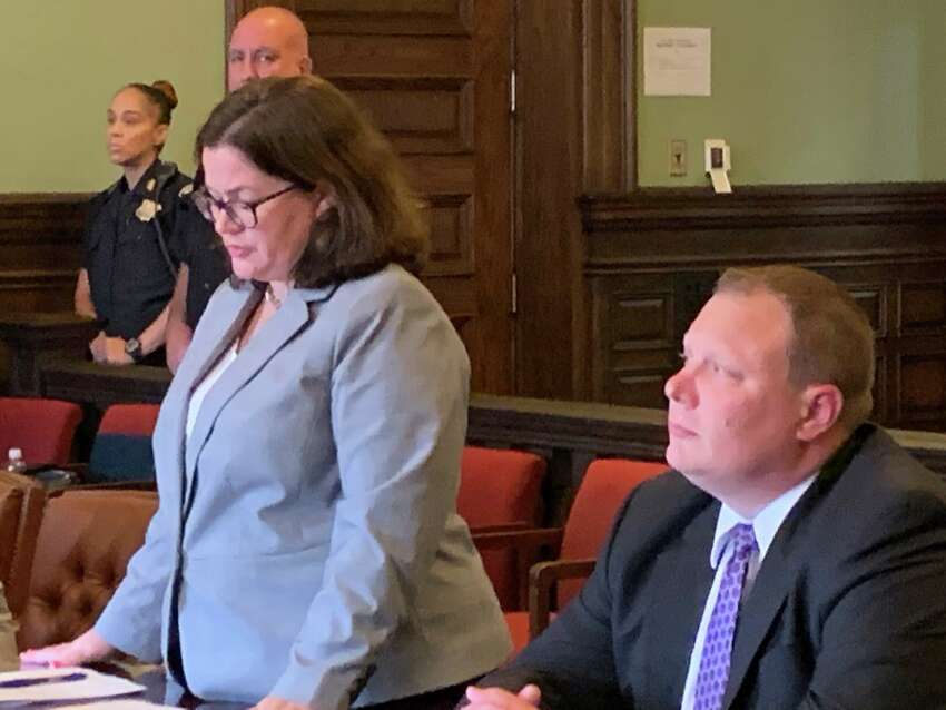 Rensselaer County District Attorney May Pat Donnelly speaks in court Tuesday at the sentencing of Madaleno Perez Calixto, who was once implicated in the killings of two men but later pleaded guilty to lesser charges and agreed to testify against another man who was convicted of murder.