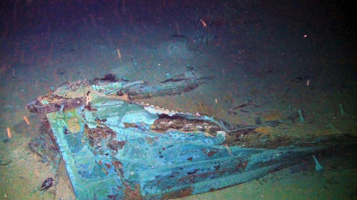 Pictured: Site 15470 stern with draft mark captured by ROV Odysseus. Source: National Oceanic and Atmospheric Administration >>> See images of the artifacts from both shipwrecks.