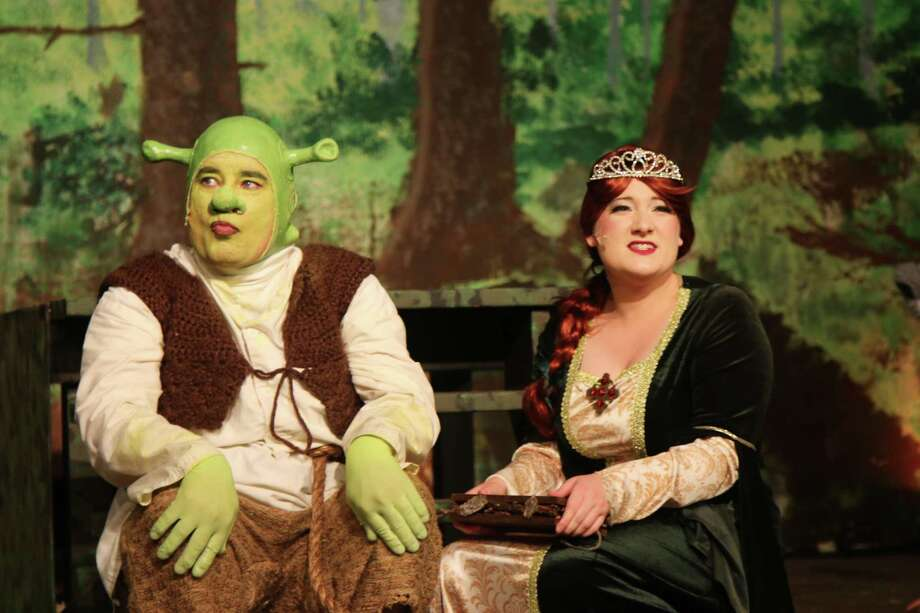 "Kevin Bielmeier as Shrek and Emily Walsh as Princess Fiona starred in ""Shrek the Musical"" at the Richter House Arts Center in Danbury. Photo: Priscilla Squiers / Contributed Photo"