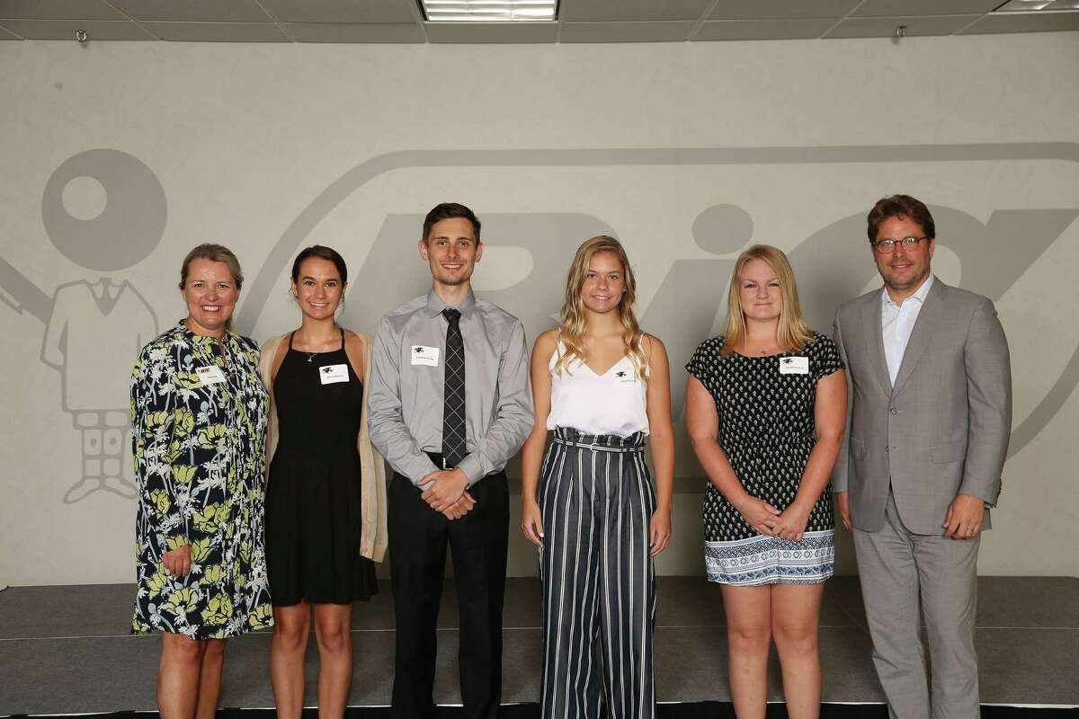 Mary Fox, general manager, BIC North America Consumer Products, Olivia Keator, Jonathan Feher, Sophie Lucas, Elizabeth Hull and Gonzalve Bich, BIC chief executive officer.