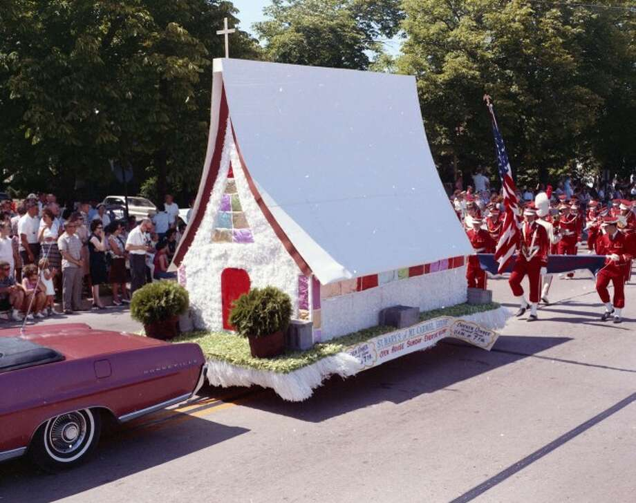 A float for St. Mary's Mt. Carmel Shrine in the 1964 Forest Festival Parade.