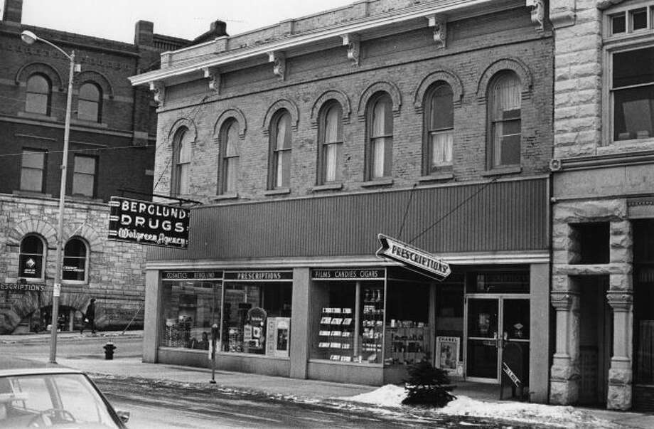 The Berglund Drug Store that was located at the corner of River and Maple streets is shown in this photograph from the 1970s.