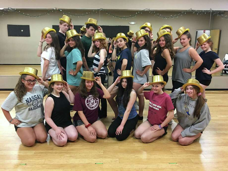 "Rehearsing for ""A Chorus Line"" are, last row left to right, Aidan Moulder, Justin Cavone, Will Crebbin and Grant Salese; middle row left to right, Elizabeth LaRosa, Kayla Verga, Jane Shearin, Allison Mele, Annalie Ciolino, Olivia Cavallero, Jessica Nivison and Elsie Tierney; first row left to right, Paige Farley, Annie Davidow, Brianna Duffy, Rachel Weintraub, Mackenzie Roche and Leah Navin. Photo: SEP / Contributed Photo"