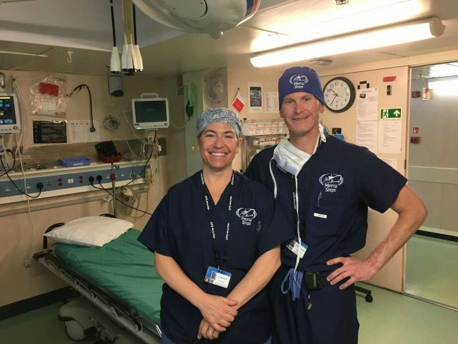 Dr. Glenn and Teri Mandeville volunteered on the Africa Mercy in Guinea, West Africa. (Courtesy Photo/Mercy Ships)