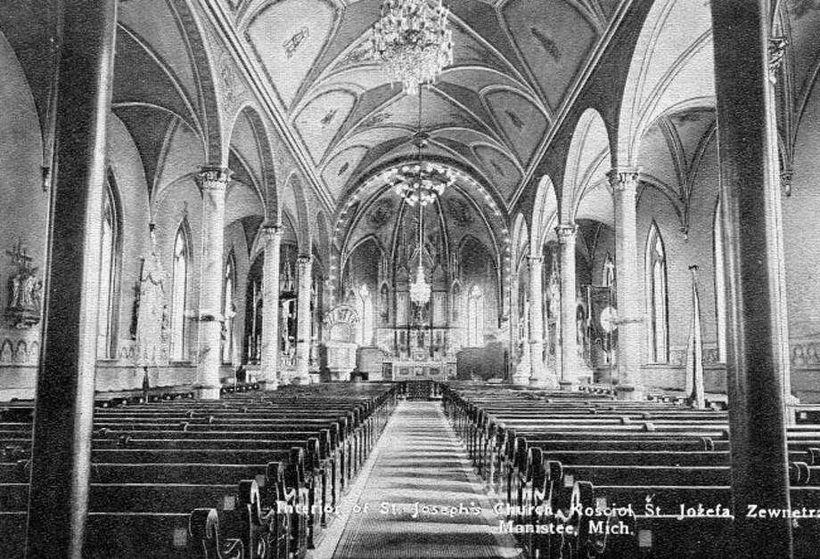 An early interior view of St. Joseph Catholic Church.