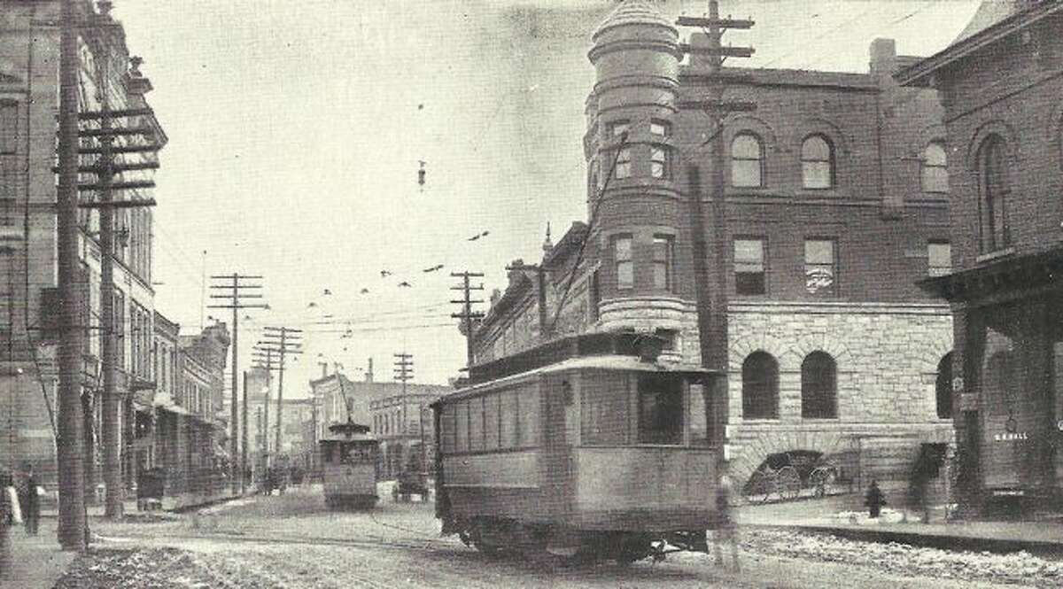 This photograph from the 1890s shows the view looking east on River Street.