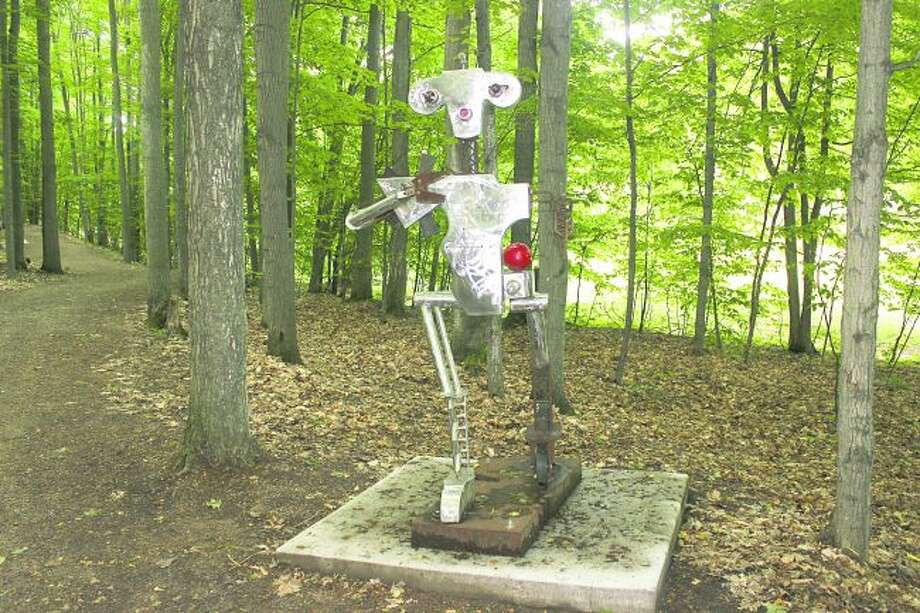 """""""King Stanley"""" is one of the first sculptures visitors to Michigan Legacy Art Park can view as they head out on the trail. (Photo/Robert Myers)"""
