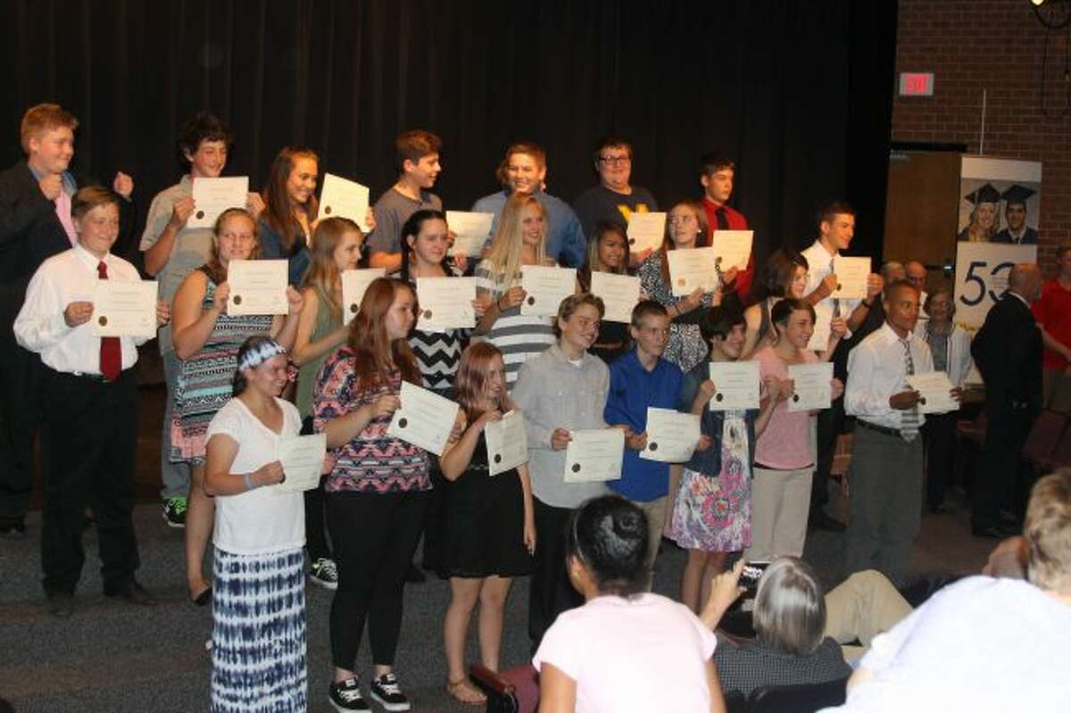 Thirty three students were inducted to the first class of Manistee Commitment Scholarship Program that will provide them with a free college education at West Shore Community College.